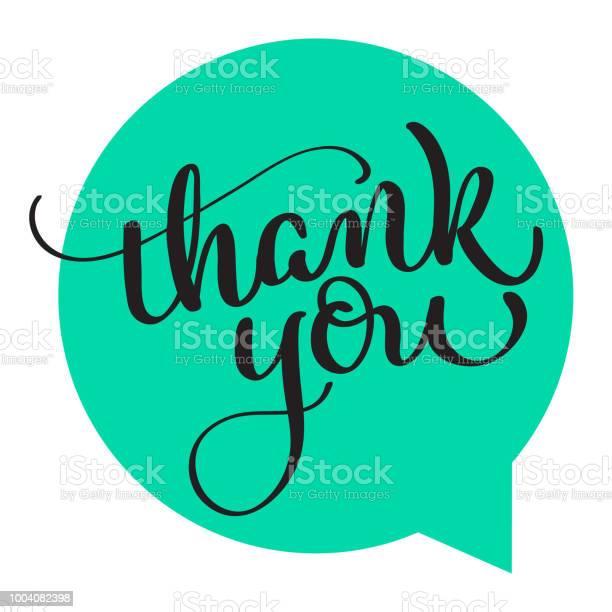 Text Thank You On Green Background Calligraphy Lettering Vector Illustration Eps10 — стоковая векторная графика и другие изображения на тему Thank You - английское словосочетание