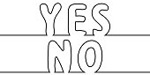 Text the word yes to no, one line drawing, vector cartoon letters yes no one line drawing stylus