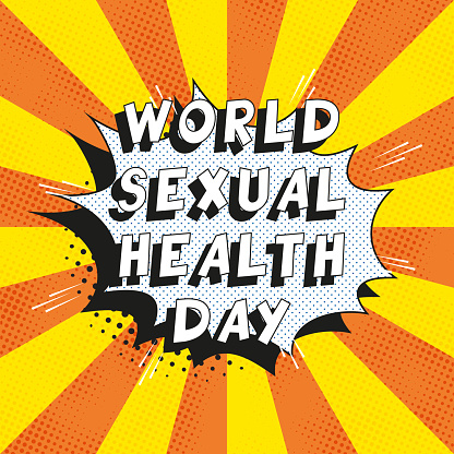 Text 'WORLD SEXUAL HEALTH DAY' in retro comics speech bubble on orange background with radial lines and halftone dots. Holiday banner template in vintage pop art style. Vector illustration eps10