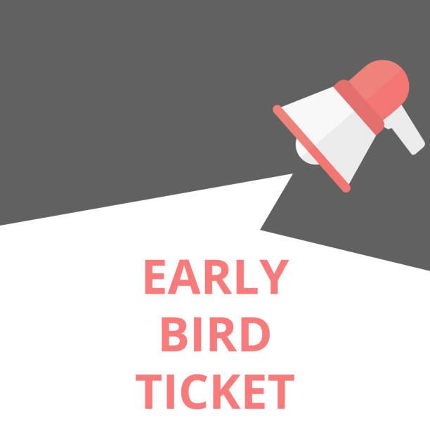 text writing Early Bird Ticket. vector art illustration