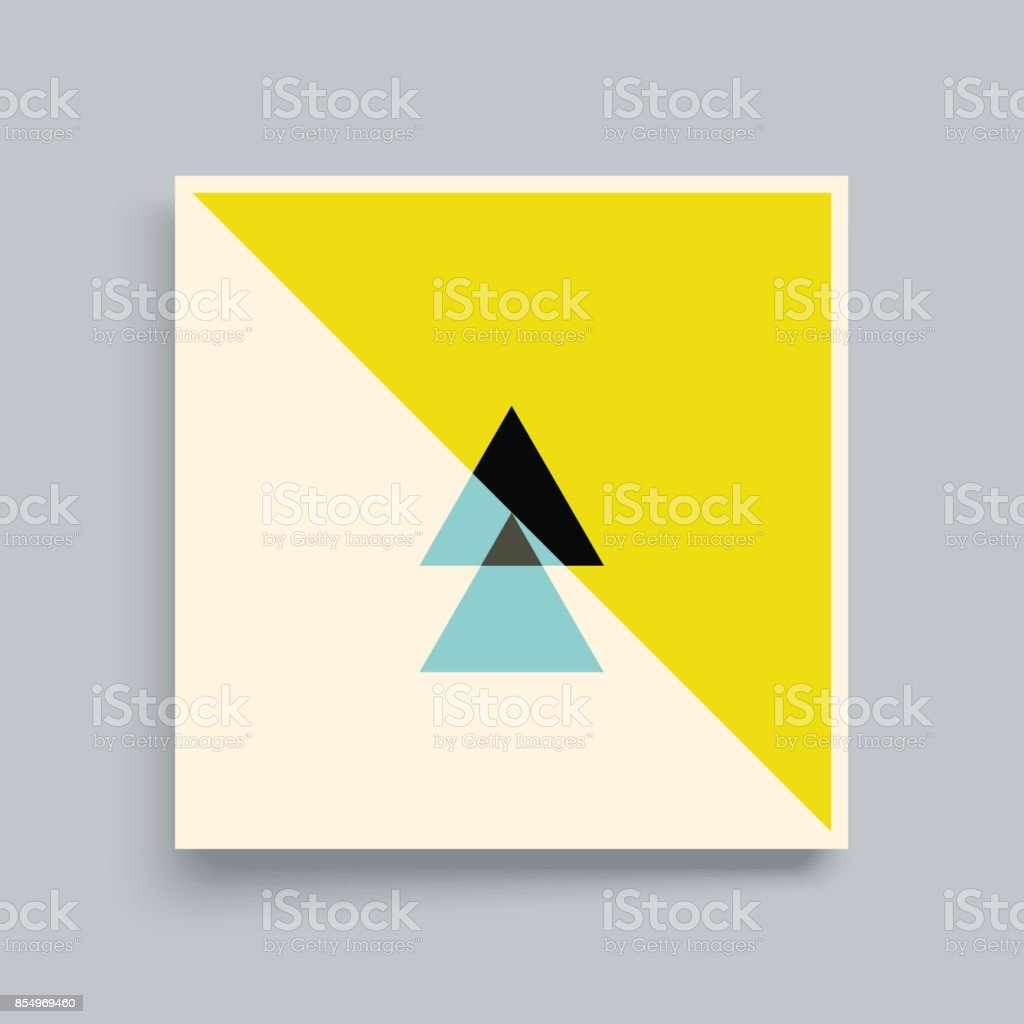 Textbook, Booklet or Notebook Mockup. Abstract geometric design. Vector illustration made of various overlapping elements.
