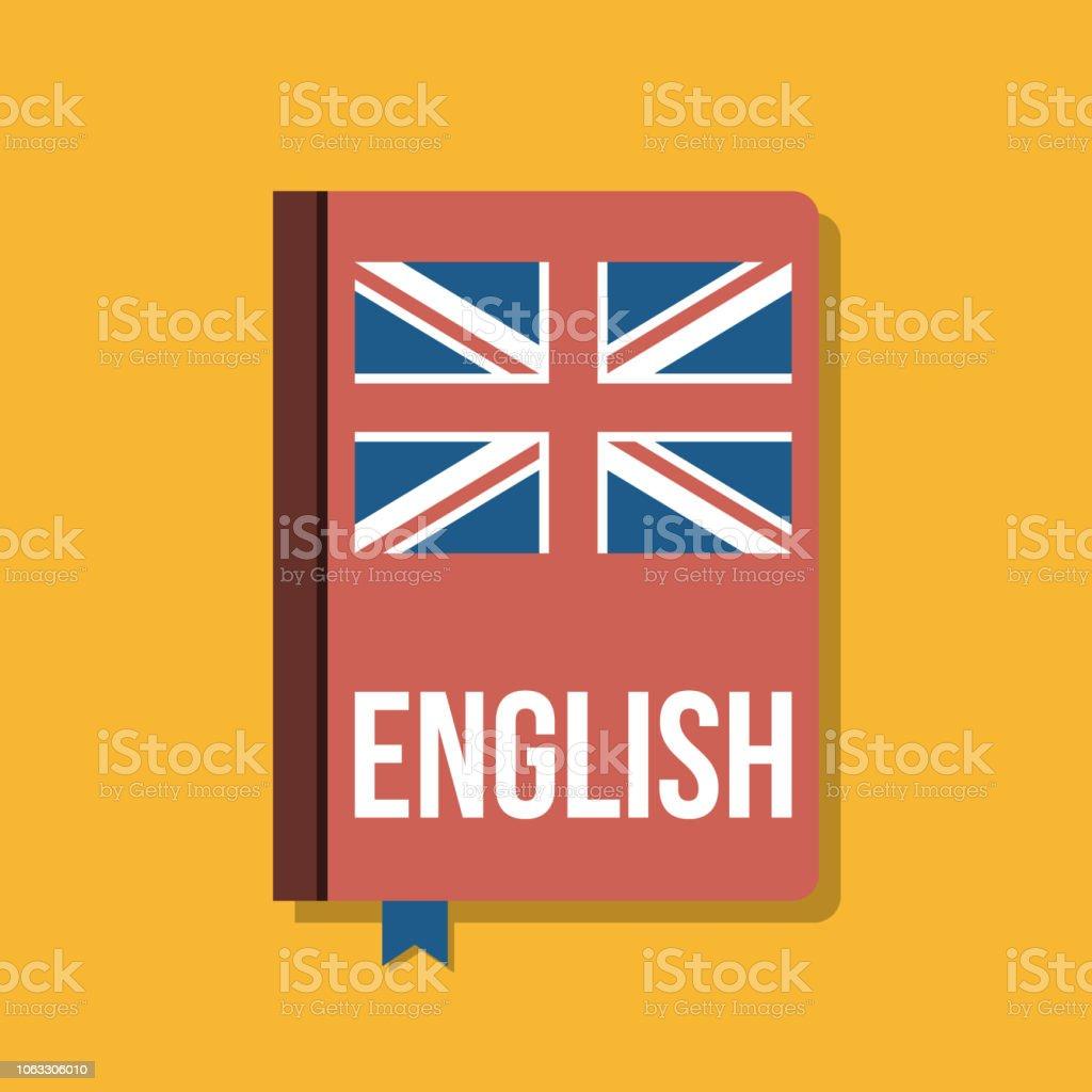 livro didático para o curso de língua inglesa, ilustração vetorial plana - ilustração de arte em vetor
