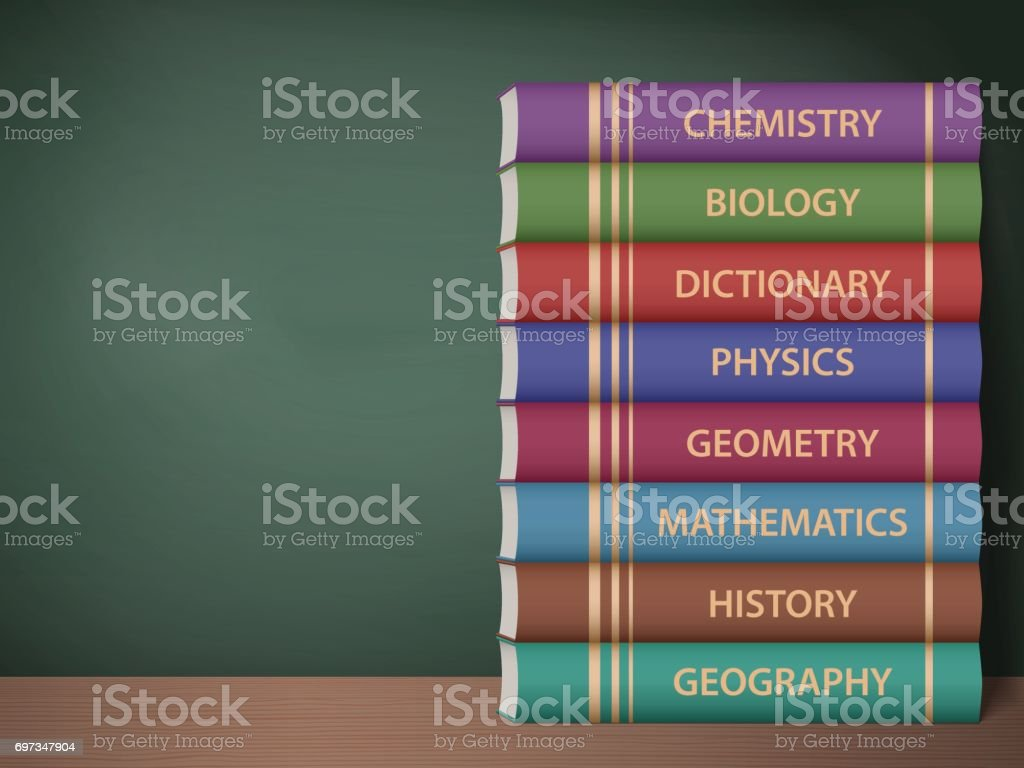 Textbooks on the desk vector art illustration