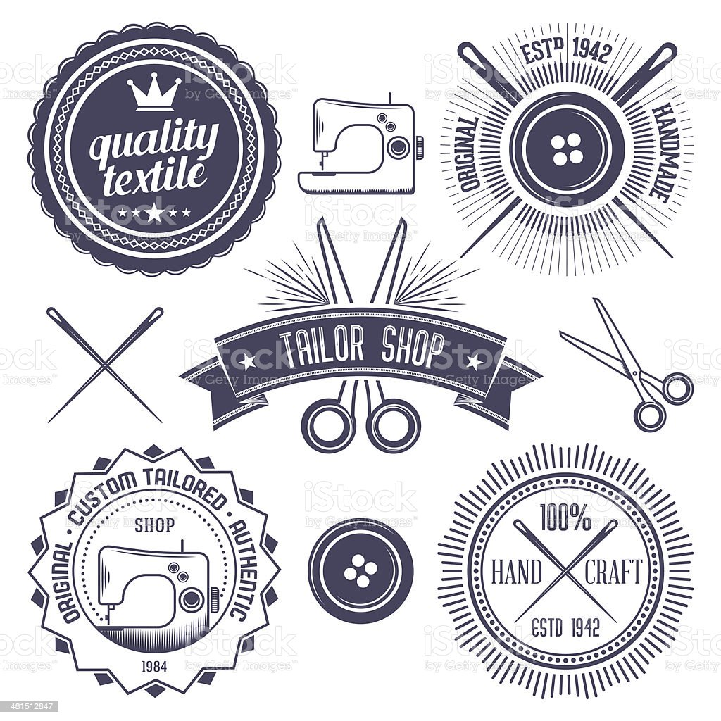 Textile Badges vector art illustration