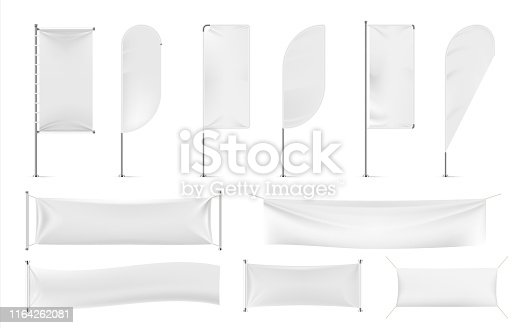 Textile banners and flags. Outdoor exhibition promotion mockup, white beach feathers and blank advertising. Vector modern fabric cotton cloth banner