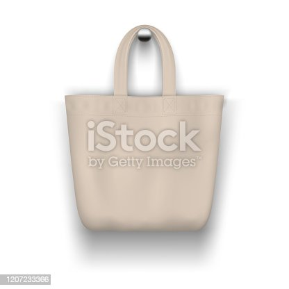 Textile beige tote  bag hanging on the wall realistic vector  mockup for  shopping design.