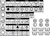 textile care symbols, vector set