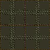 Textile check plaid pattern seamless vector in green and brown. Tartan plaid for scarf, skirt, jacket, or other modern clothing design.