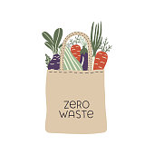 Textile eco-friendly reusable shopping bag with lettering Zero Waste. Conceptual ecologic hand drawn vector illustration.