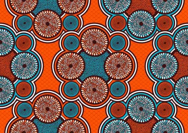 stockillustraties, clipart, cartoons en iconen met textiel mode afrikaanse print 63 - batik