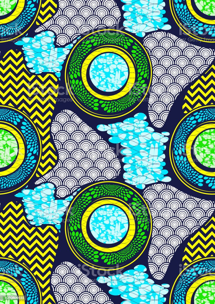 Textile Fashion African Print Fabric Super Wax Stock Illustration -  Download Image Now