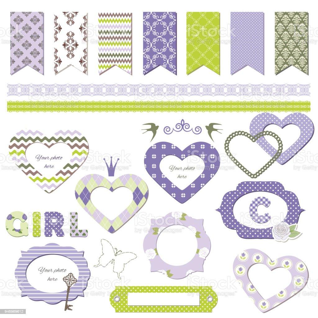 Textile Frames Scrapbook Design Elements Girly Stock Vector Art ...
