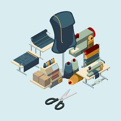 Textile Industry Sewing Manufactory Tools Concept Of ...