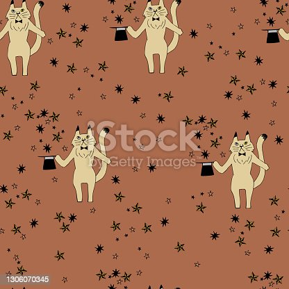 """istock Textile pattern. """"Cat during dinner"""" 1306070345"""