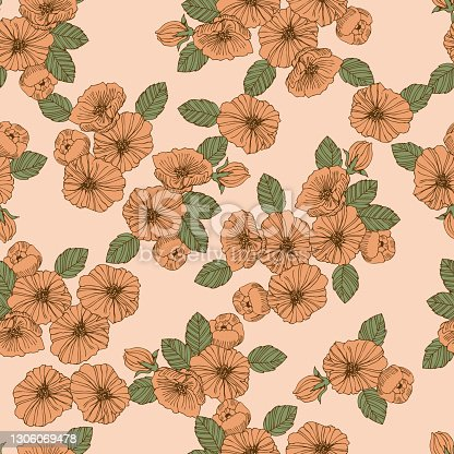 "istock Textile pattern. ""Flower-peony"" 1306069478"