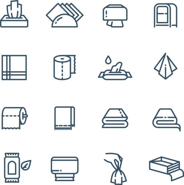 stockillustraties, clipart, cartoons en iconen met textiel handdoek en natte papieren servet lijn vector openbare sanitaire pictogrammen - servet
