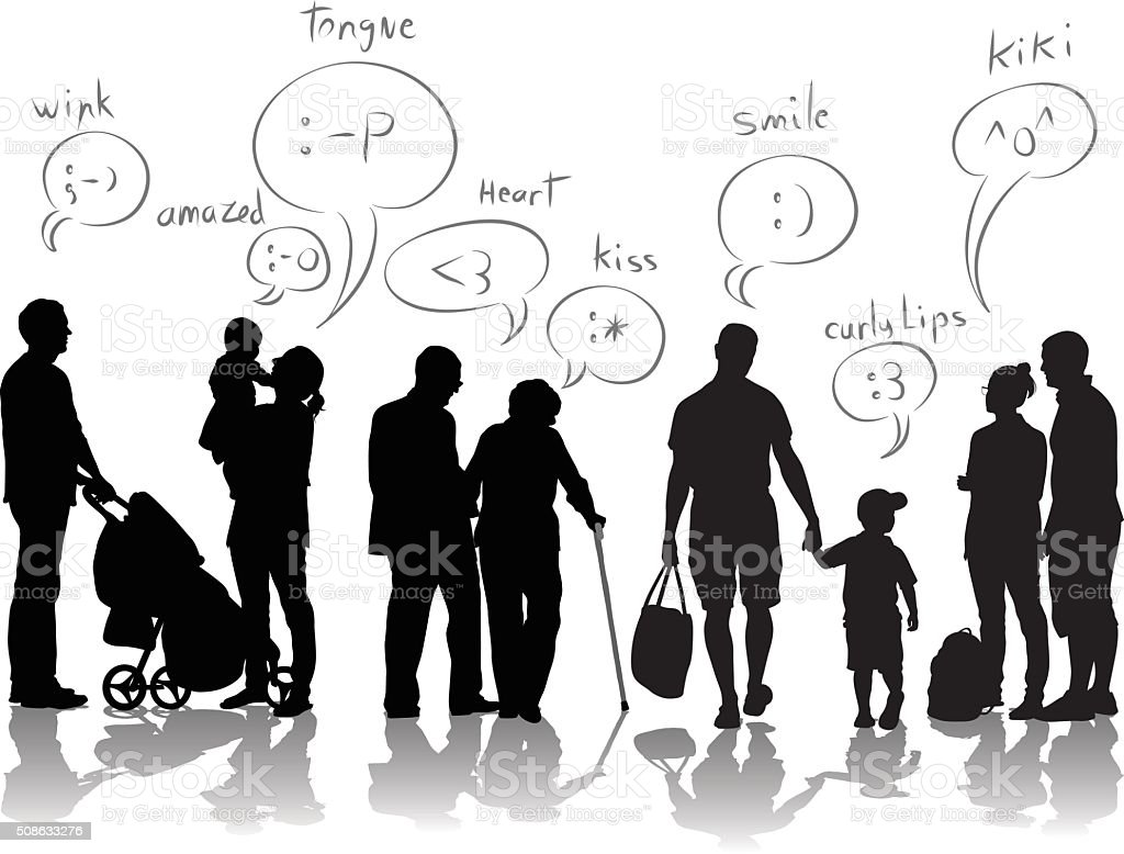 Texting Emoticons Infographics vector art illustration