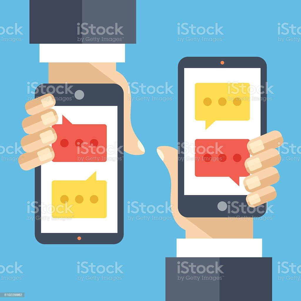 Texting flat illustration concept. Sms, instant messaging app, texting service vector art illustration