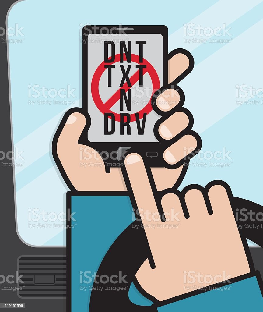 Texting on a smart phone while driving vector art illustration