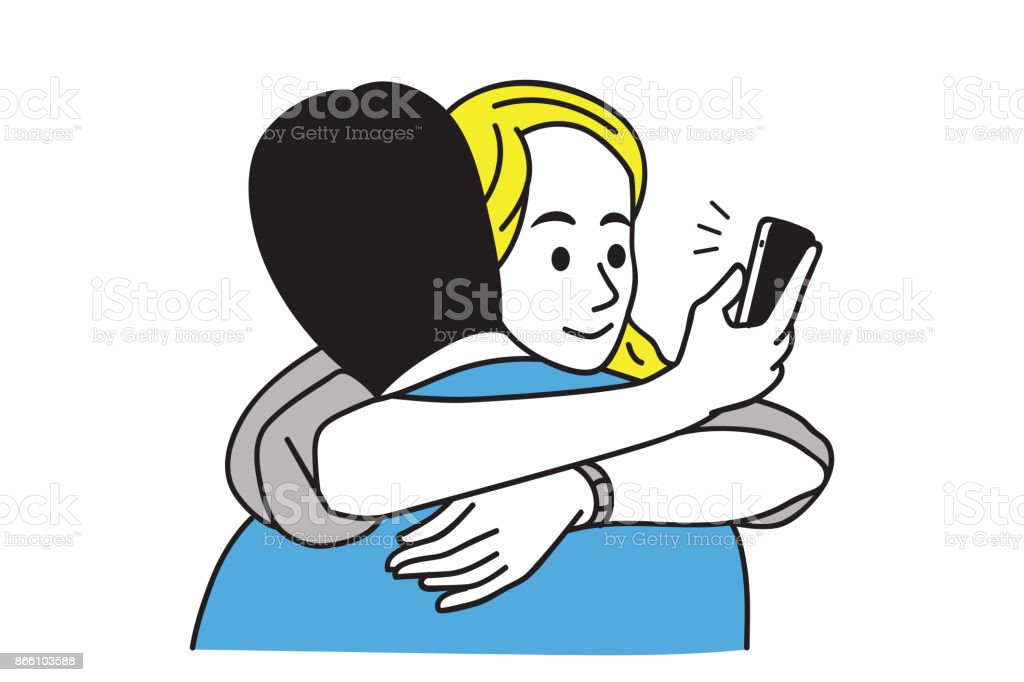 Texting phone cheating boyfriend vector art illustration