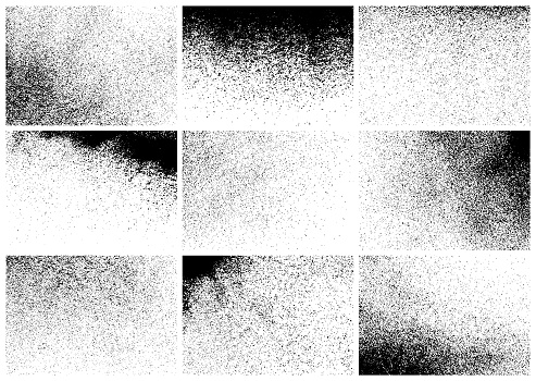 Set of nine black grunge textures. Vector rectangular backgrounds.