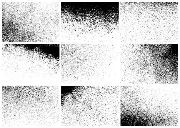 Texture backgrounds Set of nine black grunge textures. Vector rectangular backgrounds. grunge image technique stock illustrations