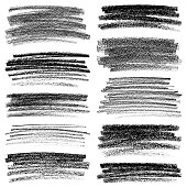 Set of texture crayon and chalk strokes. Hand draw vector design elements.