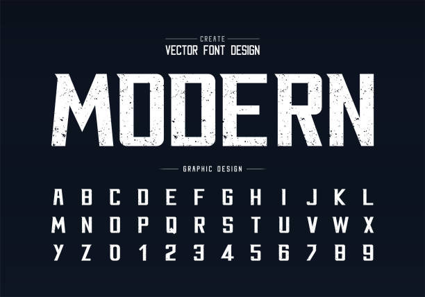 ilustrações, clipart, desenhos animados e ícones de fonte de textura e vetor de alfabeto, tipo de letra moderno arrojado áspero e design de número de letra - font