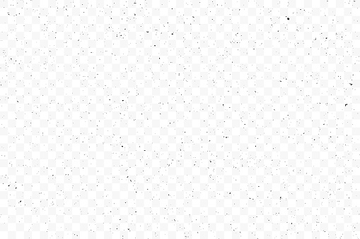 Texture grunge chaotic random pattern on transparent background. Monochrome abstract dusty worn scuffed background. Spotted noisy backdrop. Vector.