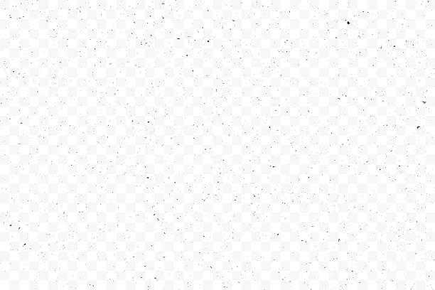 textur grunge chaotische zufallsmuster auf transparenten hintergrund. monochrom abstrakt staubigen getragen abgewetzten hintergrund. gefleckte laute kulisse. vektor. - verzweiflung stock-grafiken, -clipart, -cartoons und -symbole