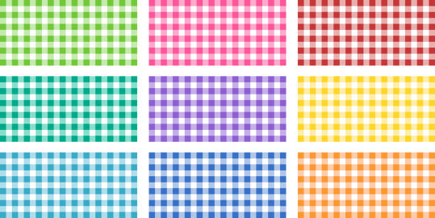 texture illustrating Vichy fabrics Square of Vichy fabrics of different colours checked pattern stock illustrations