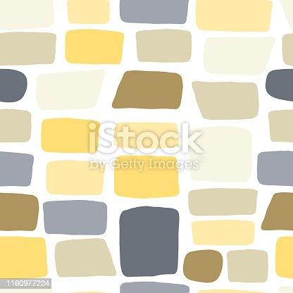 Texture of a brick wall. Pebbles seamless pattern. Hand drawn stone wallpaper. Vector illustration