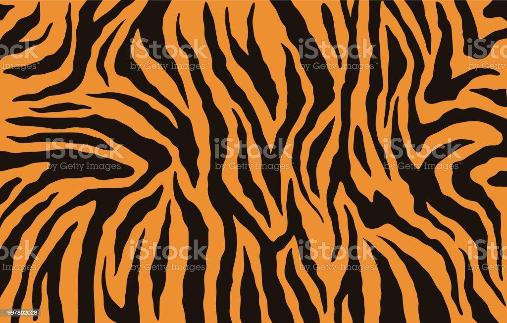 Texture of bengal tiger fur, orange stripes pattern. Animal skin print. Safari background. Vector vector art illustration