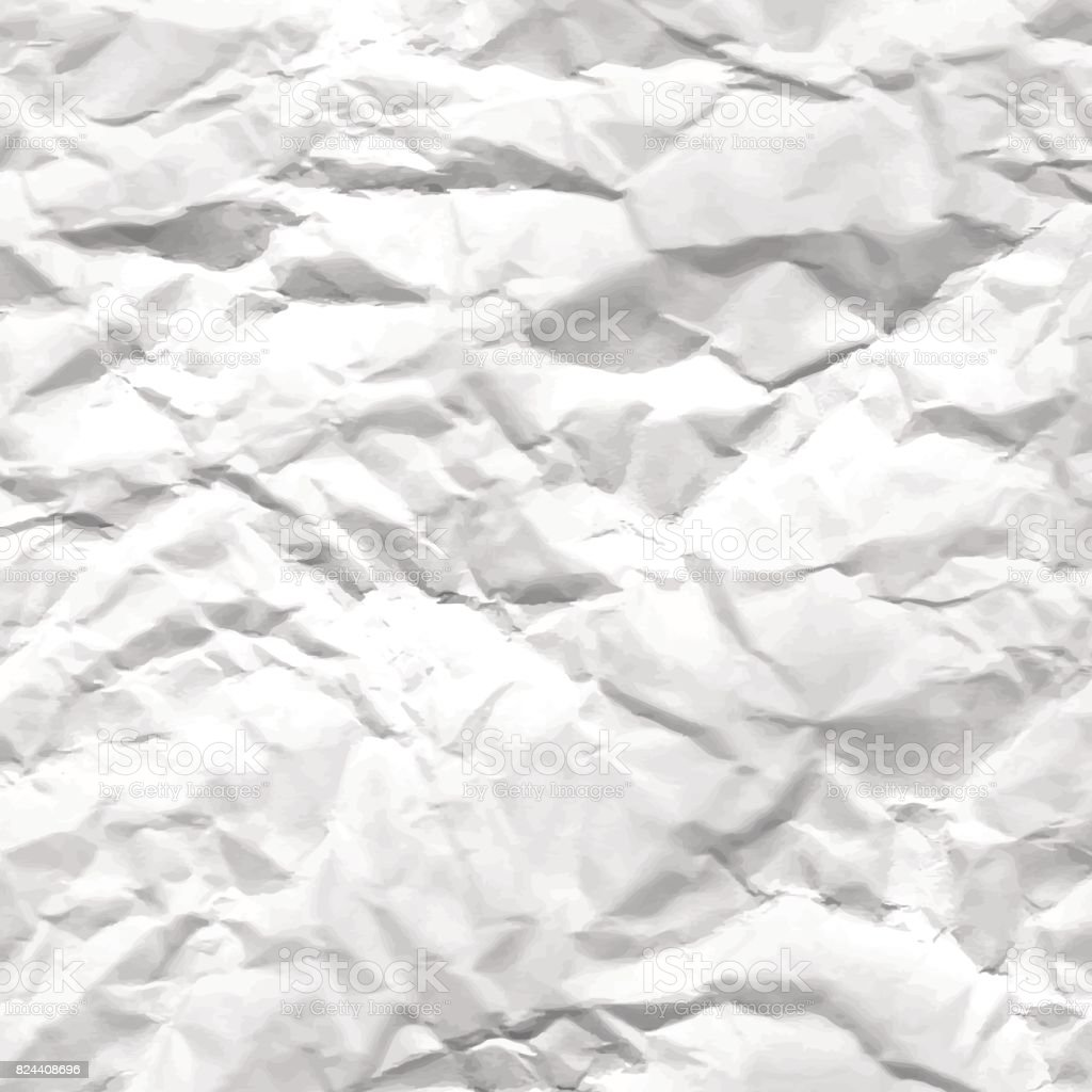 Texture of crumpled white paper vector art illustration