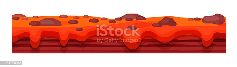 Game environment, landscape, surroundings. Texture of soil, burnt earth, with geysers, lava, earth surface for ui game, ux interface. 2D gaming platform Vector illustration