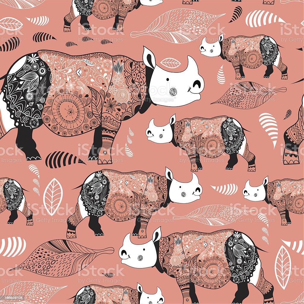 texture ornamental rhinos royalty-free stock vector art