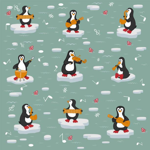 stockillustraties, clipart, cartoons en iconen met textuur. penguin orchestra. - basklarinet
