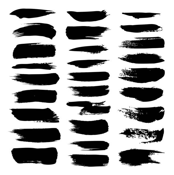 texture strokes thick paint isolated on white background - uderzać stock illustrations