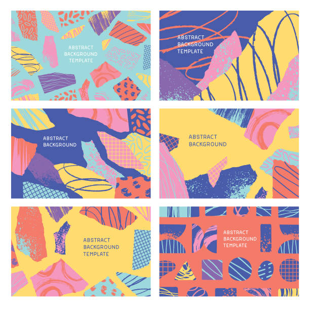 Textured abstract shapes backgrounds Set of editable flat vector illustrations on layers.  This image includes clipping masks. youth culture stock illustrations