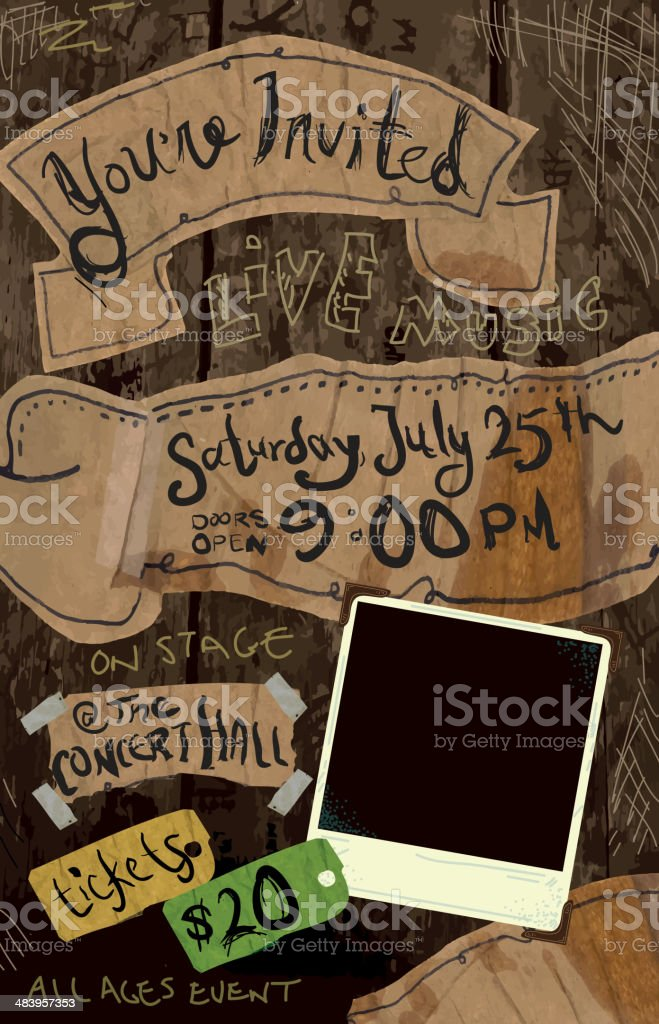 Textured and stylized concert poster invitation design template vector art illustration