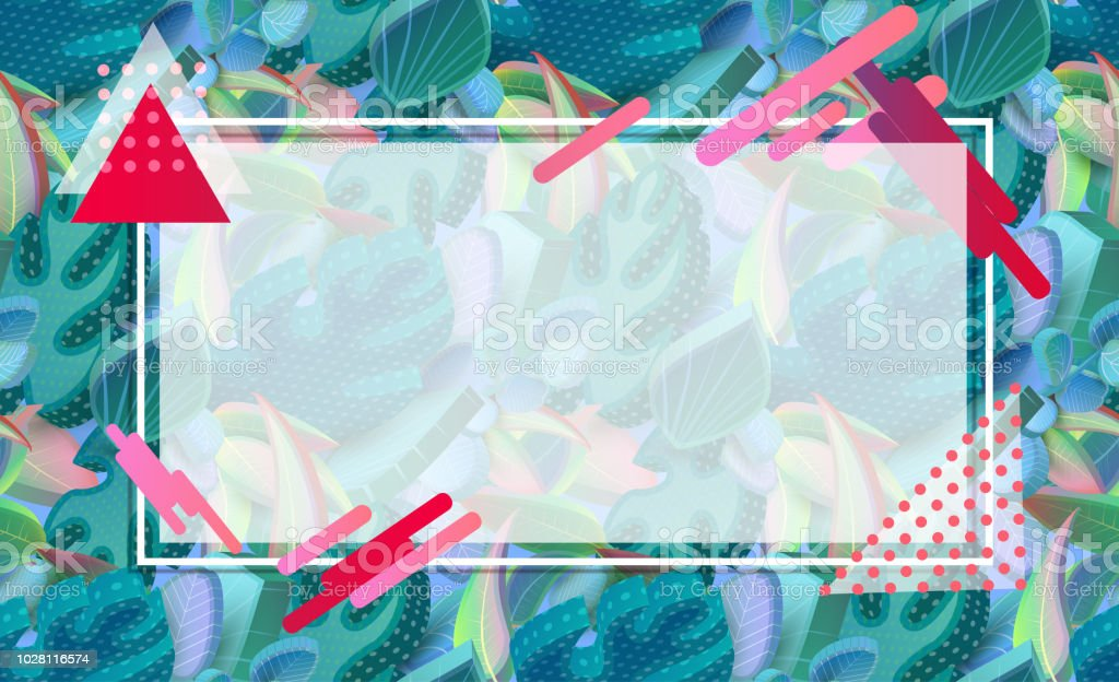 Textured Background With Frame Green 3d Leaves And Geometric Pattern