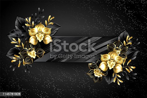 Black, textured, rectangular banner with jewelry orchids, decorated with gold leaves on grunge background.