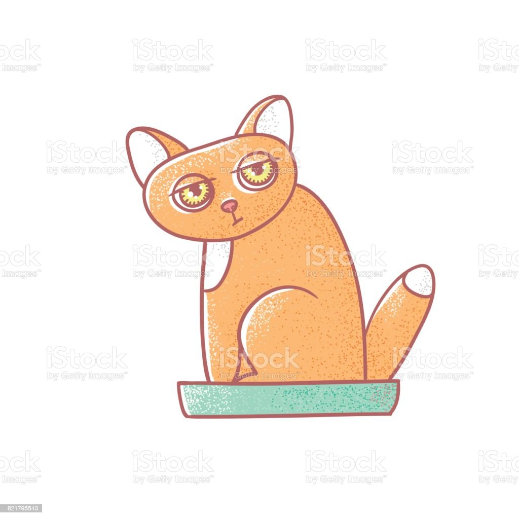 Textured color vector isolated illustration of cute emotional ginger kitten. The face of a cat expresses fatigue. Pussycat is defecate in the litter box. Drawn lines and painted a picture of the pet vector art illustration