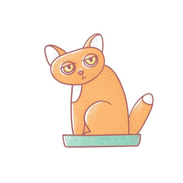 strukturierte farbe vektor-isolierte illustration der niedlichen emotionale ingwer kätzchen. das gesicht einer katze drückt müdigkeit. pussycat ist in das katzenklo verrichten. linien gezeichnet und malte ein bild des tieres - faules emoji stock-grafiken, -clipart, -cartoons und -symbole