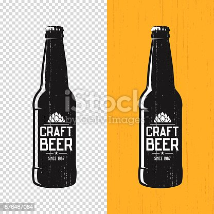 Textured craft beer bottle label design. Vector icon, emblem, typography