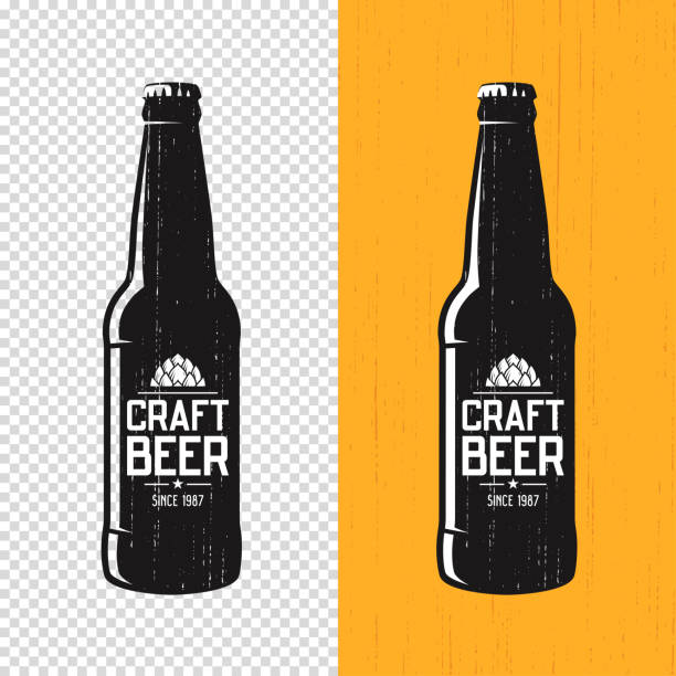 Textured craft beer bottle label design. Vector icon, emblem, typography vector art illustration