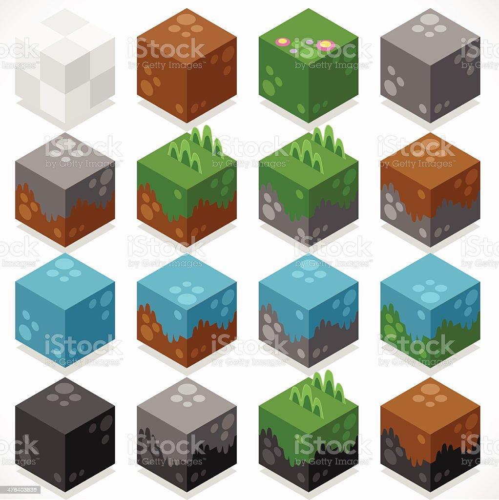 Textured Cubes Mine Elements Builder Craft Kit vector art illustration