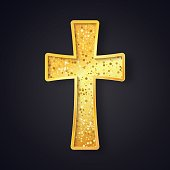 Textured gold catholic cross isolated vector object on dark background