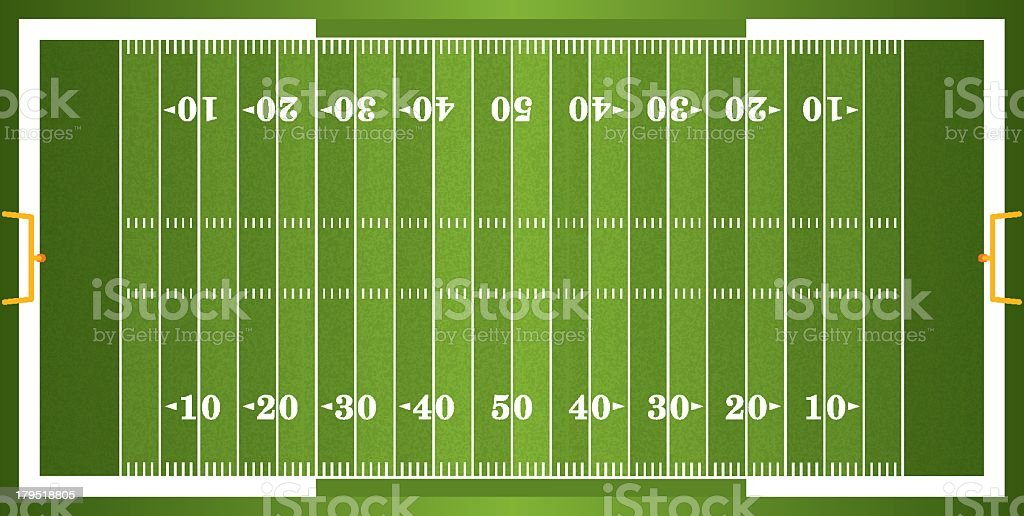 American Football Field Diagram Horizontal Colored Football Field