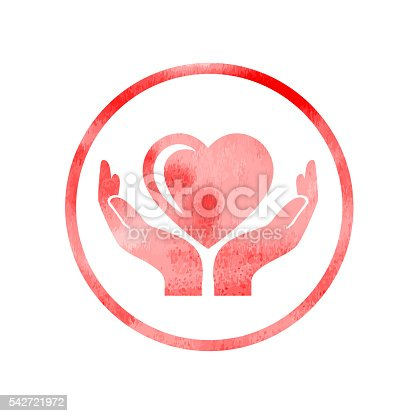 Textured heart care Icon. Each element in a separate layers. Very easy to edit vector EPS10 file. It has transparency layers with blend effects.